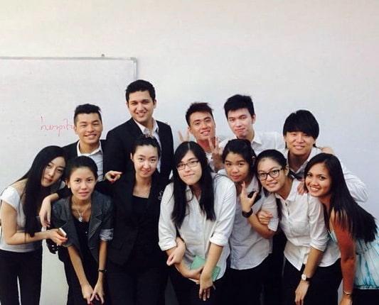 With classmates